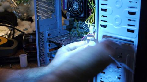 Fixing Computer Innards 02 Stock Video Footage