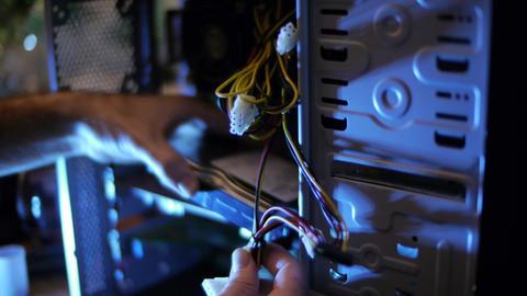 Fixing Computer Innards 04 Stock Video Footage