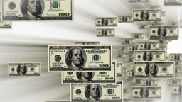100 dollar bills flying Stock Video Footage
