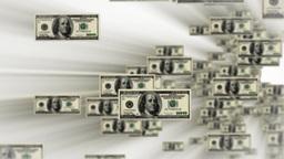 100 dollar bills flying Stock Video Footage