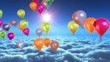 Above Clouds Colorful Balloons Flying stock footage