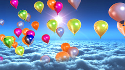 Above clouds colorful balloons flying Animation