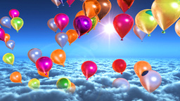 Above clouds colorful balloons flying Stock Video Footage