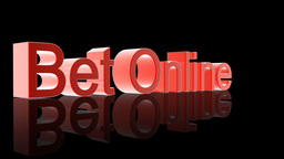 Bet Online text with casino chips falling,Alpha Channel Stock Video Footage
