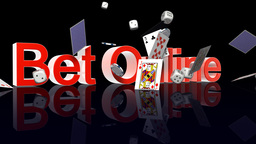 BetOnline text with casino chips dice and cards falling Stock Video Footage