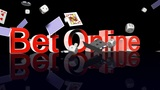 BetOnline Text With Casino Chips Dice And Cards Falling stock footage