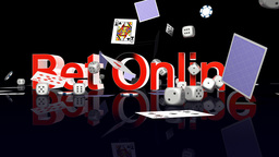 BetOnline text with casino chips dice and cards falling Animation