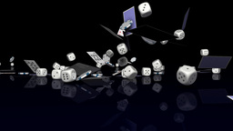 Casino chips dice and cards falling Stock Video Footage