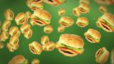 Cheeseburgers Flying On Green stock footage