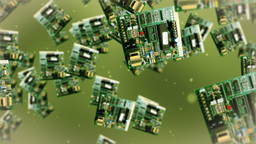 Circuit board against green Stock Video Footage