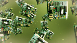 Circuit board against green Animation