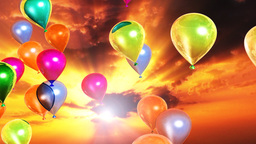 Colorful balloons and sunset time lapse clouds Animation
