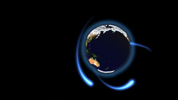 Seamless loop rotating Earth with animated blue rays around Animation