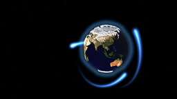 Seamless loop rotating Earth with animated blue rays around Stock Video Footage