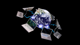 Earth globe and laptops , communication concept , LOOP Stock Video Footage