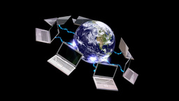 Earth globe and laptops , communication concept , LOOP Animation