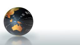 Earth Globe shiny metallic rotating,looping Animation