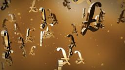 English pound currency symbol flying Animation
