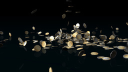 Euro coins falling on reflective floor,Alpha Channel Animation