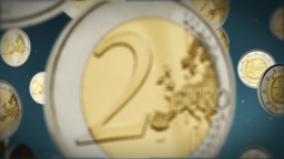 Euro coins flying Stock Video Footage