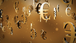 Euro currency symbol flying Stock Video Footage