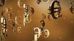 Euro currency symbol flying Animation