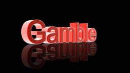 Gamble text with casino chips and cards falling Stock Video Footage