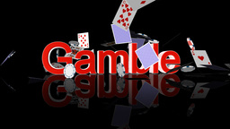 Gamble text with casino chips and cards falling Animation