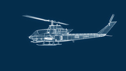 Blueprint helicopter, seamless loop Stock Video Footage