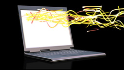 Laptop with animated light beams Animation