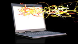 Laptop with animated light beams Stock Video Footage