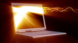 Laptop with animated screen and light beam Animation