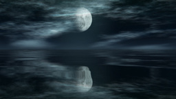 Moon Timelapse with reflection over ocean Stock Video Footage