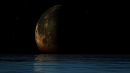 Ocean and moon phases with twinkling stars Stock Video Footage