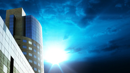 Office building against time lapse clouds Stock Video Footage