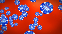 Poker chips against red Animation
