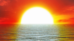 Red sunset and open sea,looping Animation