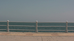 Sea and hand rail Stock Video Footage