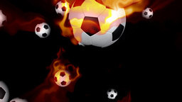 Soccer balls on fire against black Stock Video Footage