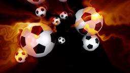 Soccer balls on fire against black Animation