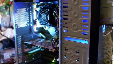 Flashlight Shines on Computer Innards Stock Video Footage