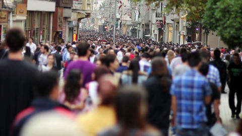 people walking in a crowded street Stock Video Footage