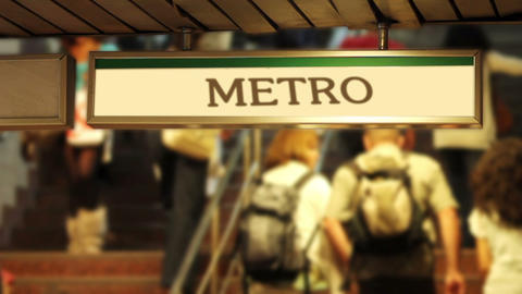 crowded metro steps Stock Video Footage