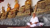 meditation under golden buddha statues Footage