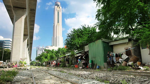Railroad Slums Stock Video Footage