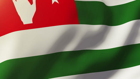 Abkhazia flag waving in the wind. Looping sun rises style. Animation loop Animation