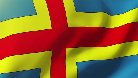 Aland Islands flag waving in the wind. Looping sun rises style. Animation loop Animation