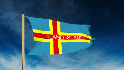 Aland Islands flag slider style with title. Waving in the wind with cloud backgr Animation