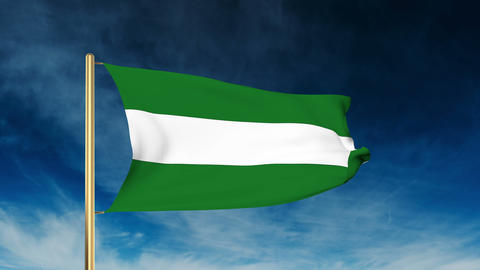 Andalucia flag slider style. Waving in the win with cloud background animation Animation