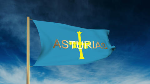 Asturias flag slider style with title. Waving in the wind with cloud background  Animation